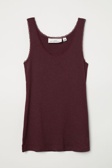 Vest top with lace trims - Dark burgundy marl -  | H&M CN