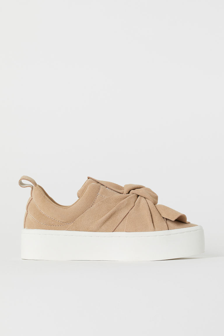 Suede Slip-on Shoes - Dark beige - Ladies | H&M US