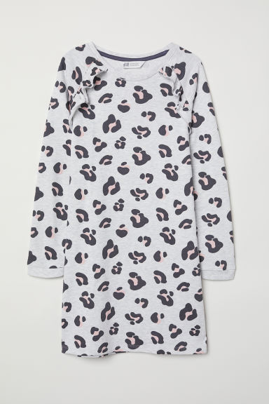 Sweatshirt dress - Light grey/Leopard print - Kids | H&M CN