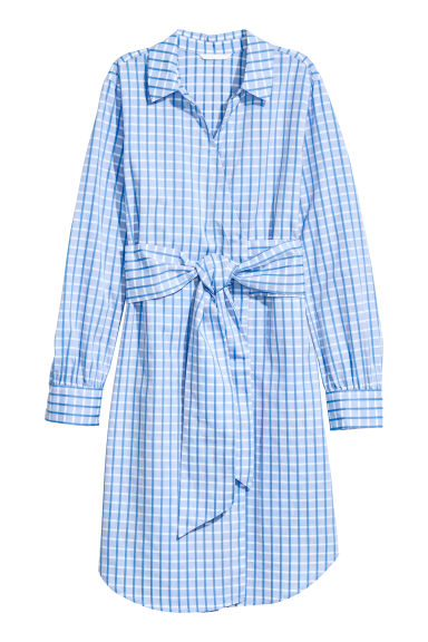 Cotton wrap dress - Light blue/Checked -  | H&M CN