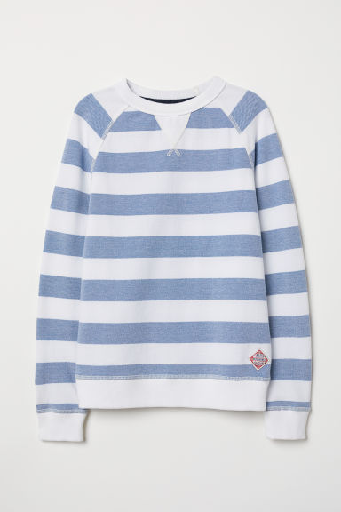 Cotton piqué top - Blue/White striped - Kids | H&M CN