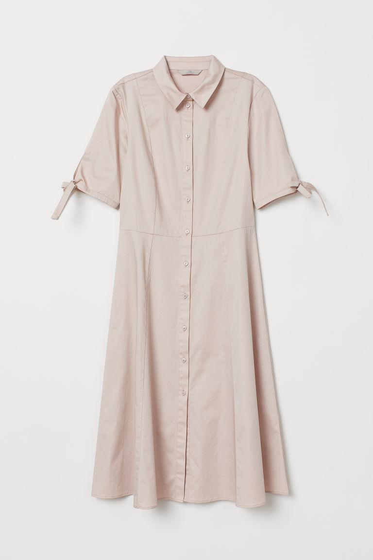 Cotton Satin Shirt Dress - Powder pink - Ladies | H&M US 5