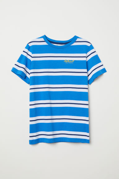 T-shirt with a chest pocket - Blue/Striped - Kids | H&M