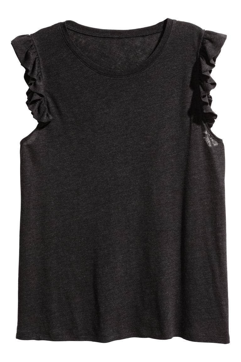 H&M+ Linen-blend top - Black - Ladies | H&M