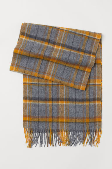 Checked wool scarf - Yellow/Checked - Ladies | H&M CN