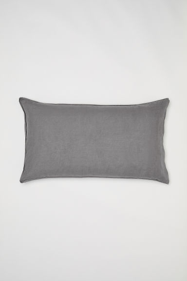 Washed linen pillowcase - Grey - Home All | H&M CN