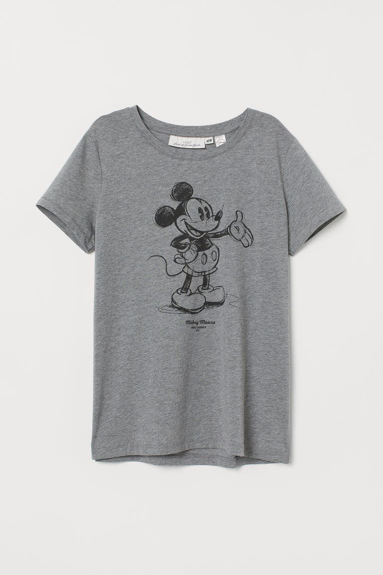 T-shirt with Motif - Gray/Mickey Mouse - Ladies | H&M US