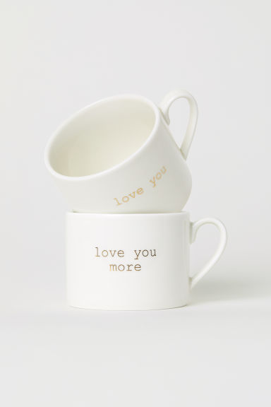2-pack porcelain cups - White/Love you - Home All | H&M CN