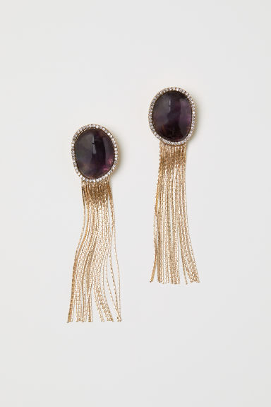 Semi-precious earrings - Gold-coloured/Plum - Ladies | H&M CN