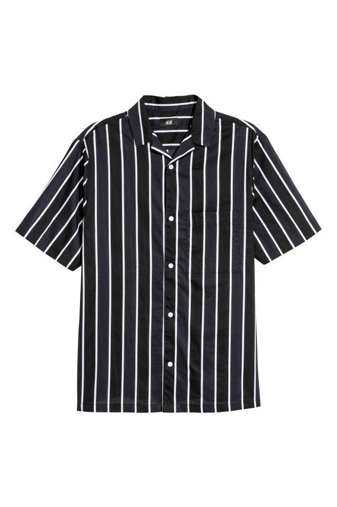 cfa833ee479e9c Short-sleeved Resort Shirt - Black/white striped - Men | H&M ...