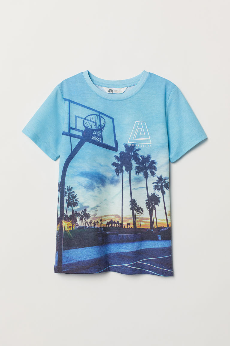 Printed T-shirt - Turquoise/Basketball - Kids | H&M IN