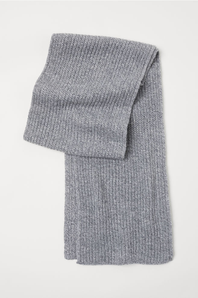 вязаный шарф серый меланж мужчины Hm Ru