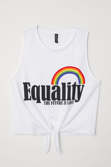 Top da annodare in jersey - Bianco/Equality - DONNA | H&M IT
