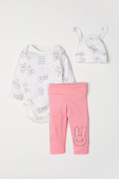 3-piece jersey set - Natural white/Rabbit - Kids | H&M