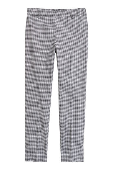 Cigarette trousers - White/Dogtooth pattern - Ladies | H&M GB