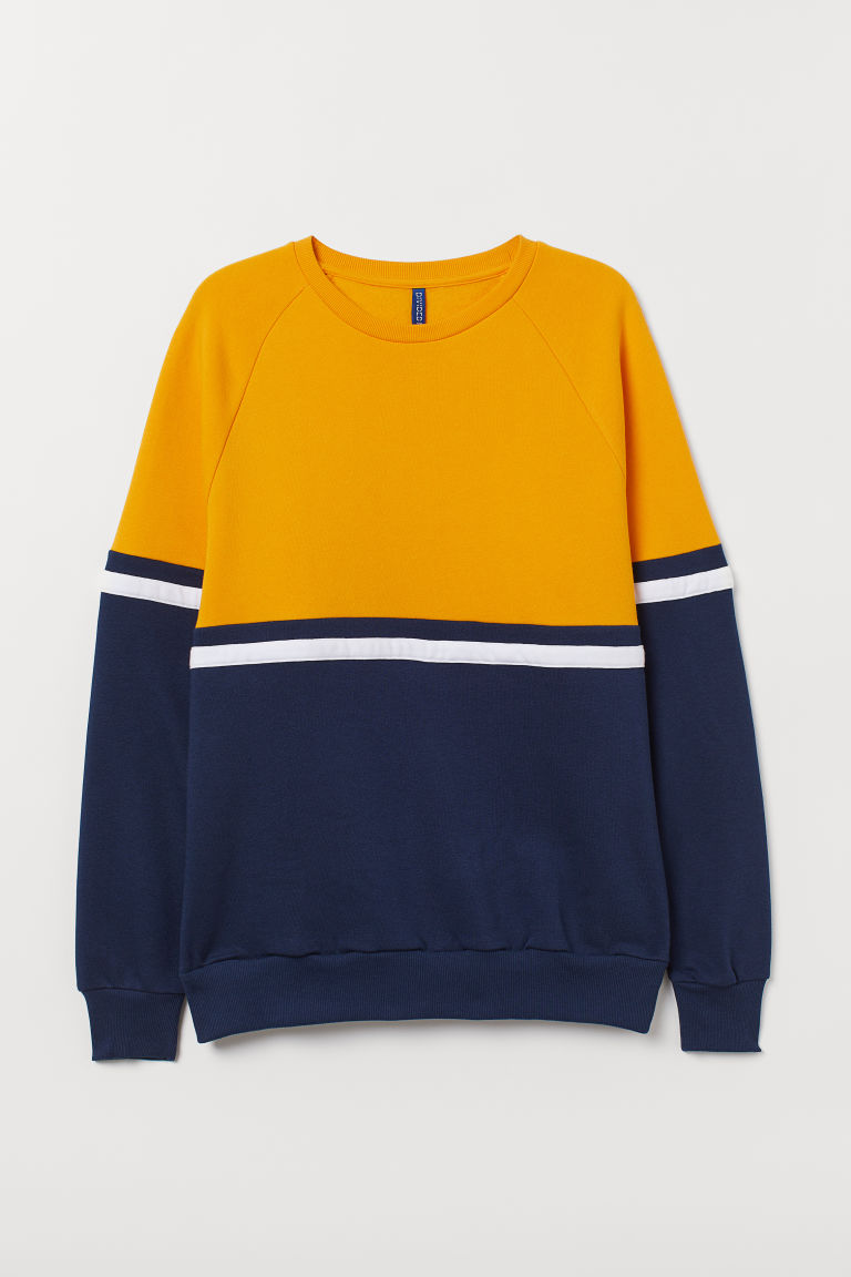 Sudadera en bloques de color - Amarillo/Azul oscuro - Men | H&M MX