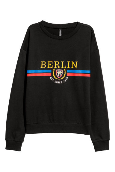 Sweater met print - Zwart/Berlin -  | H&M BE