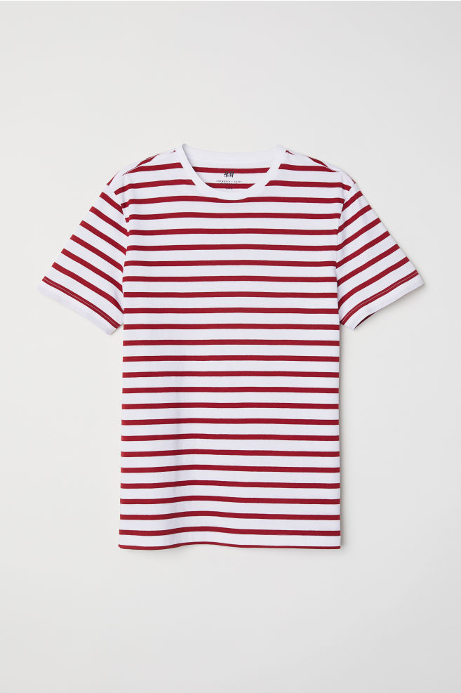 4d9a79fdcaad40 T-shirt Regular fit - White/red striped - Men | H&M ...