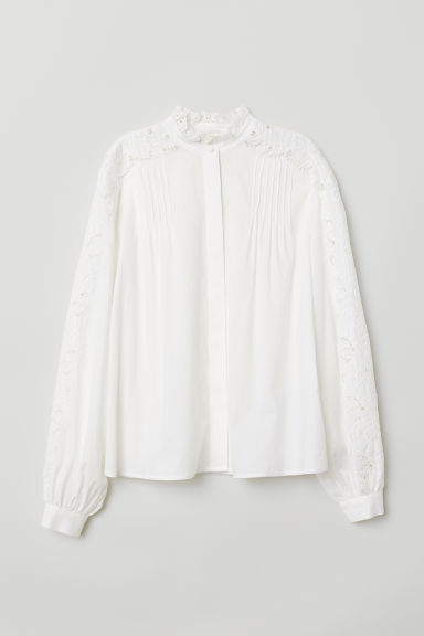 Embroidered blouse - White - Ladies | H&M CN