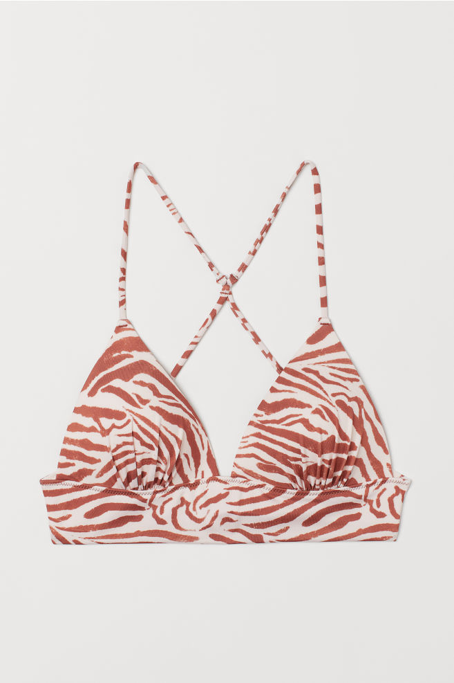 7c5ee20ff5 ... Push-up Triangle Bikini Top - Powder pink/zebra print - Ladies | H&M ...