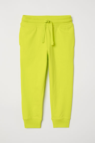 Cotton jersey joggers - Neon yellow - Kids | H&M