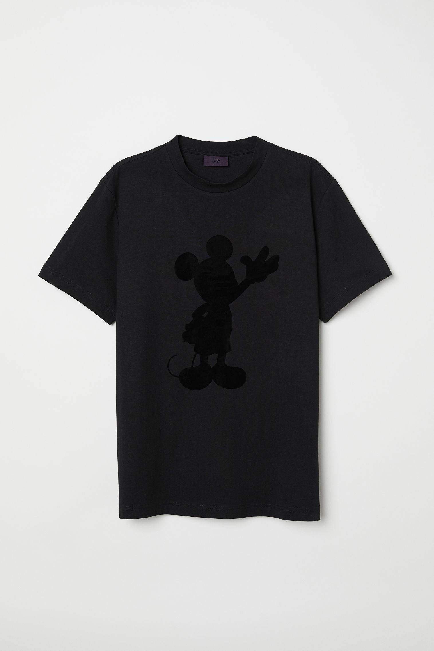 670064ed5498 Flock-print T-shirt - Black Waving Mickey Mouse - Men