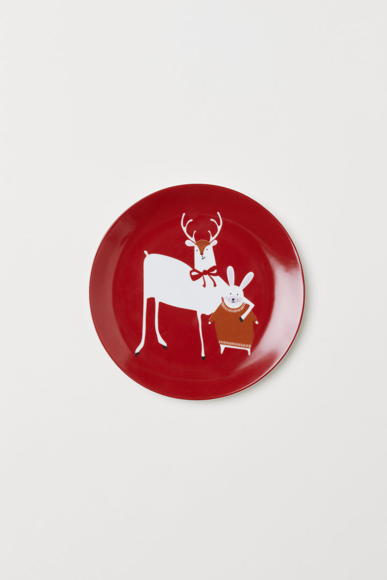 Plate with an animal motif - Red/Reindeer - Home All | H&M CN
