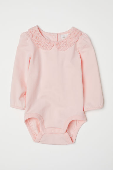 Lace-collared bodysuit - Light pink - Kids | H&M CN