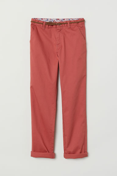 Chinos with belt - Rust red - Kids | H&M