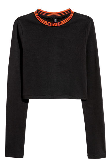 Cropped jersey top - Black/Orange - Ladies | H&M GB