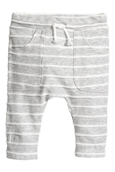 Jersey trousers with pockets - Light grey/Striped - Kids | H&M