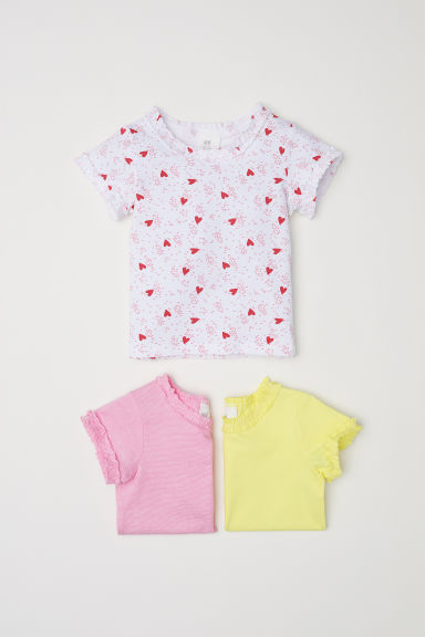 3-pack jersey tops - Light yellow/Hearts - Kids | H&M CN