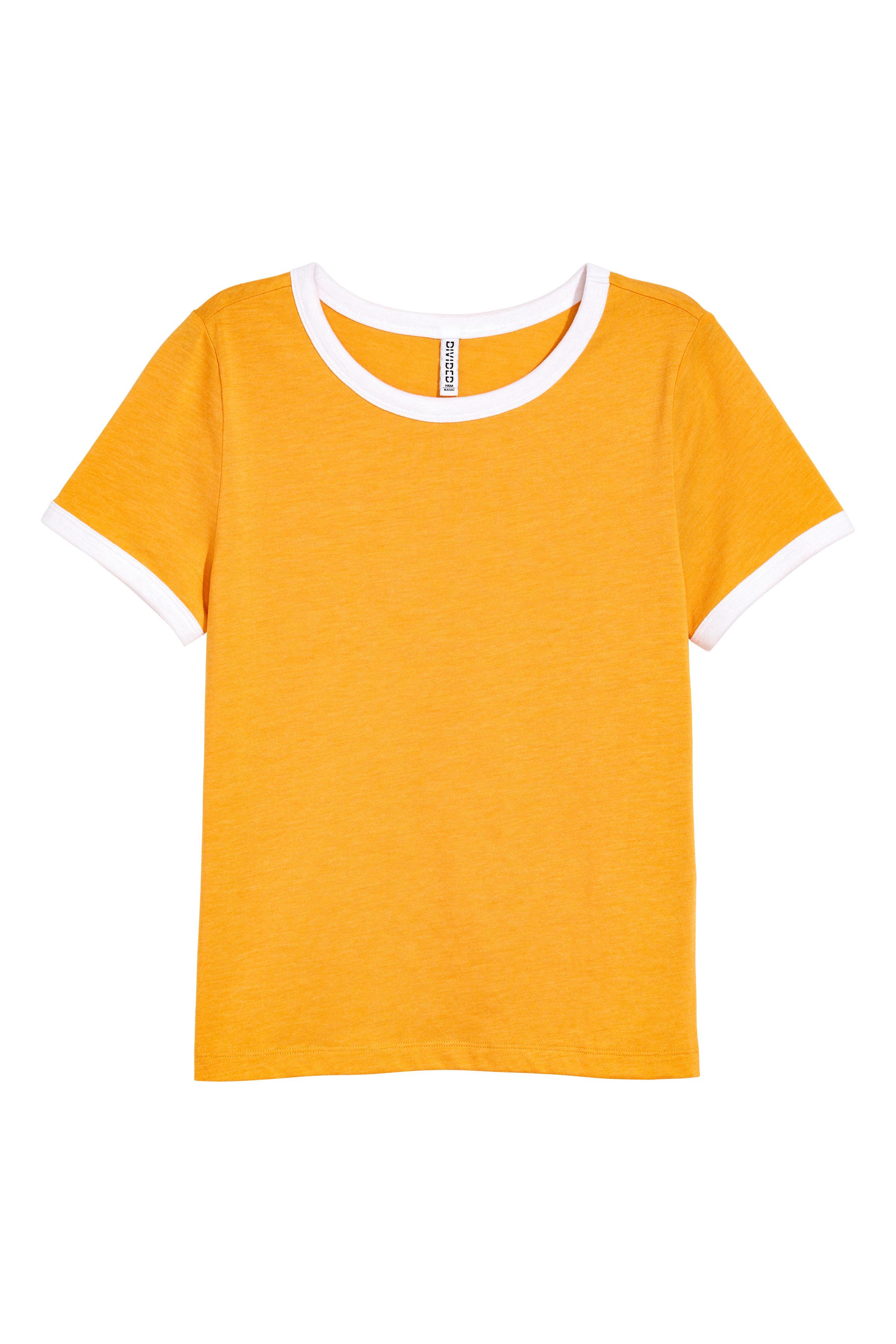 740067db Short T-shirt - Mustard yellow -   H&M US