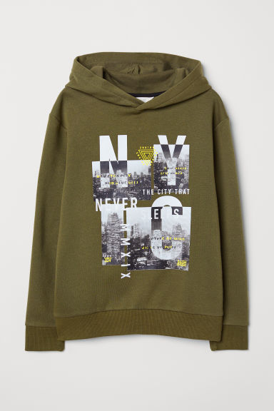 Printed hooded top - Dark khaki green/NYC - Kids | H&M