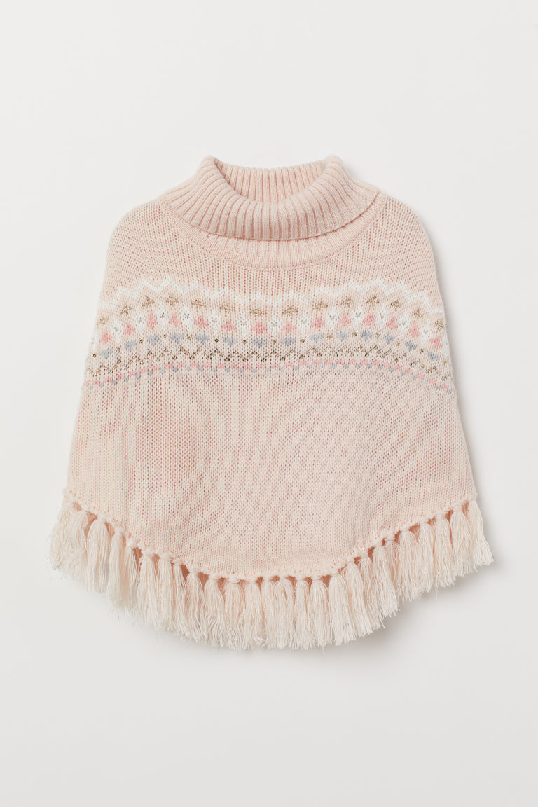 Knitted poncho with glitter - Powder pink/Patterned - Kids | H&M CN