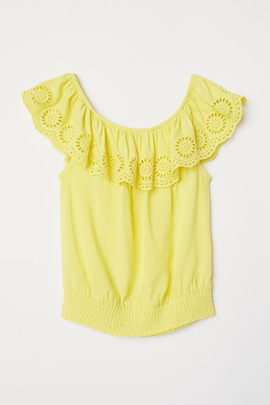 Blouse with broderie anglaise - Yellow -  | H&M