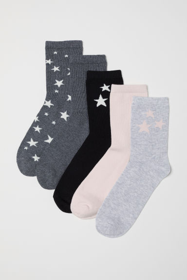 5-pack socks - Dark grey/Stars - Kids | H&M