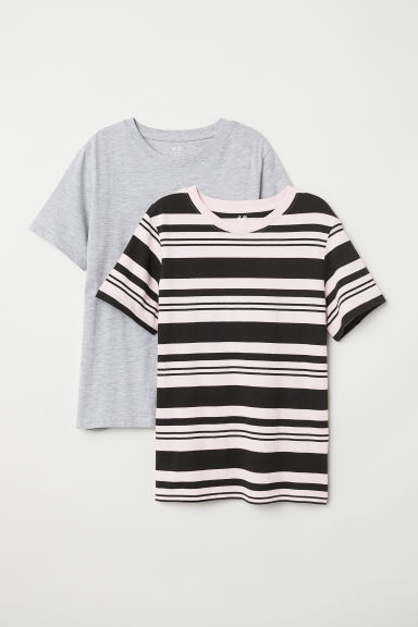 2-pack T-shirts - Light pink/Grey striped - Kids | H&M
