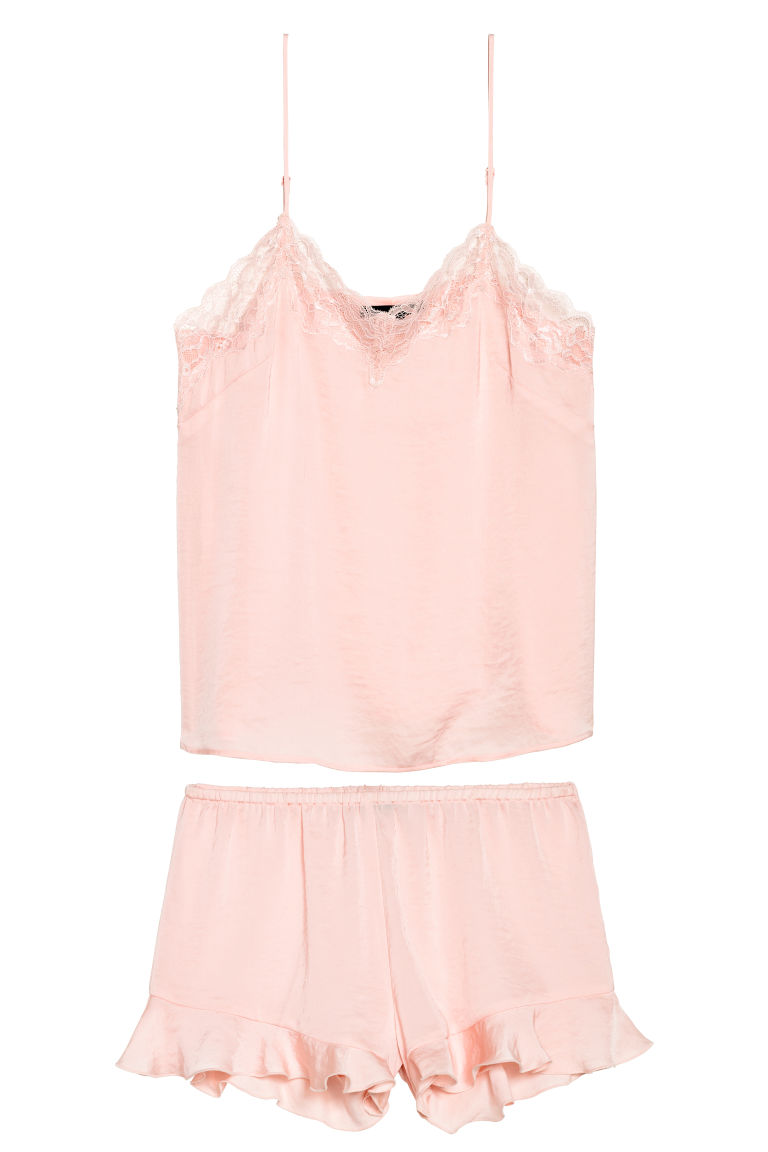 Pyjama top and shorts - Light pink -  | H&M