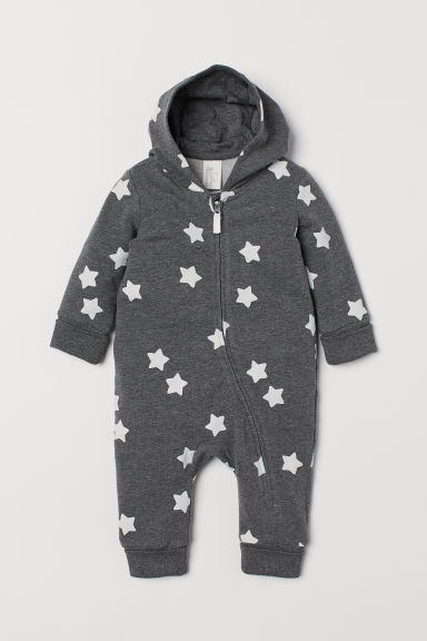 Patterned all-in-one suit - Dark grey marl/Stars - Kids | H&M CN