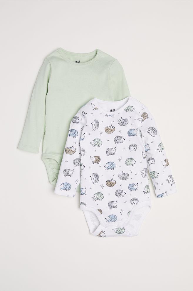 8a7eda7829e1 2-pack Long-sleeved Bodysuits - Light green hedgehogs - Kids