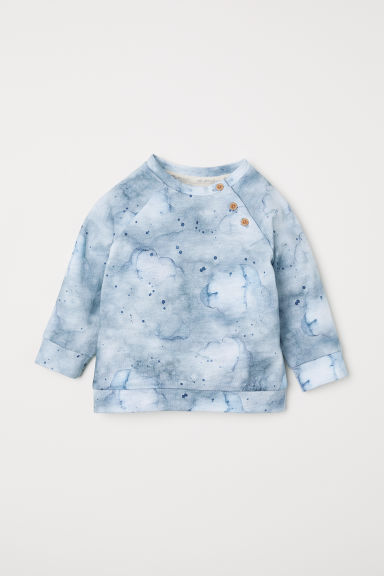 Patterned cotton top - Dusky blue/Patterned - Kids | H&M