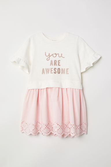 Sweatshirt dress - Natural white/You Are Awesome -  | H&M