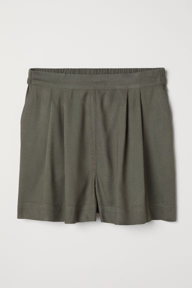 Wide shorts - Dark khaki green - Ladies | H&M CN