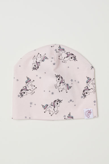 Patterned jersey hat - Light pink/Unicorns - Kids | H&M