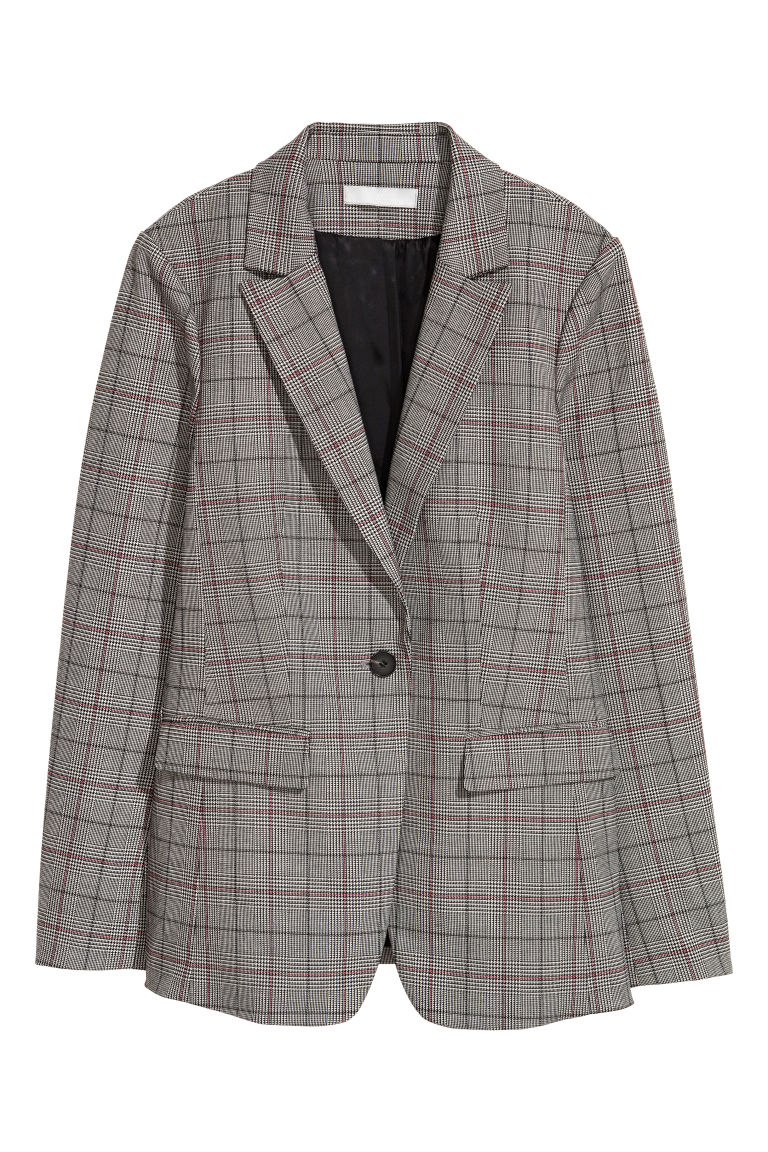 Single-breasted jacket - Grey/Dogtooth patterned - Ladies | H&M GB