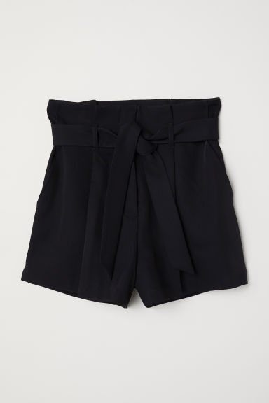 Shorts with a tie belt - Black - Ladies | H&M CN