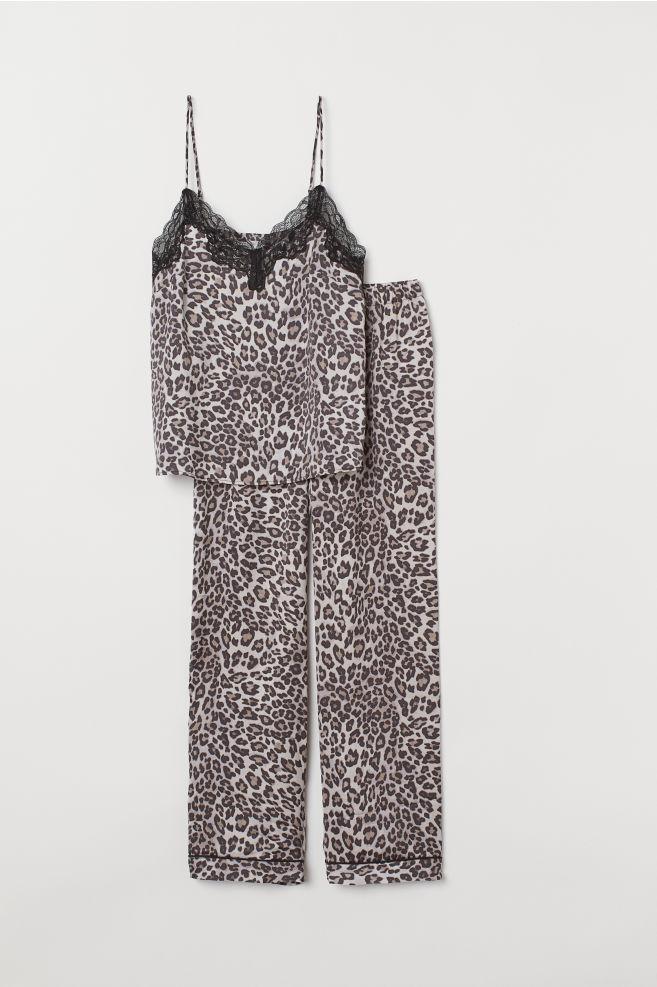 ... Pyjamas med linne och byxa - Beige Leopardmönstrad - DAM  ab1dc5a17e598