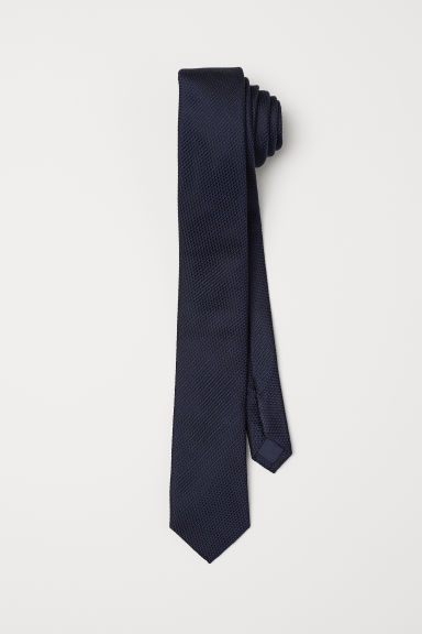 Silk tie - Dark blue - Men | H&M CN