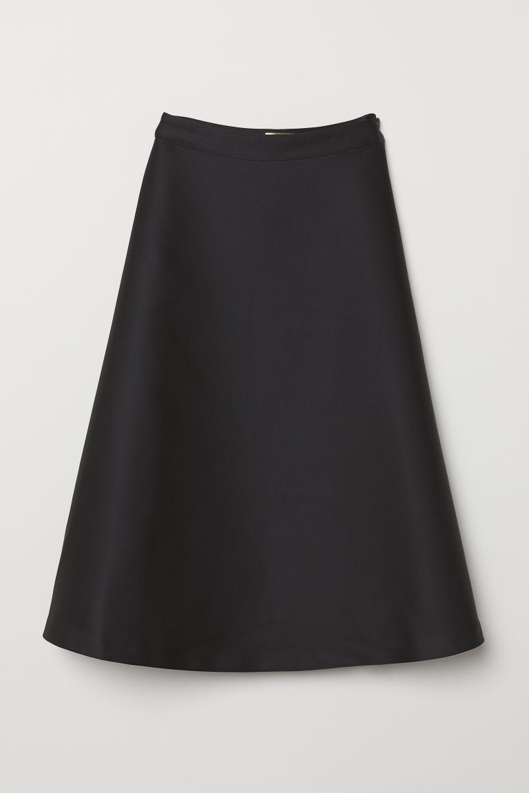 Flared satin skirt - Black - Ladies | H&M CN